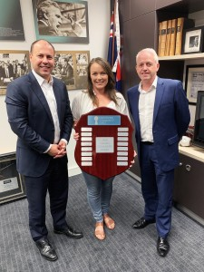 HCC's Patron the Hon Josh Frydenberg MP with the recipient of the 2018 HCC Jane Nathan Award Toni Prime – Toni Prime Design and HCC President Andrew Tait.
