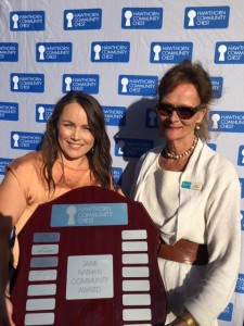 Toni Prime with Jane Nathan. The Jane Nathan Award is named in Jane's honour, past President of Hawthorn Community Chest and former Mayor of Hawthorn in recognition of her achievements and ongoing contribution to the local community.