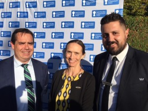 HCC's Patron Lesley Gillespie OAM mingling with our BSP John Papadimitriou Westpac Camberwell and Shannon O'Doherty Westpac Regional GM for North East.